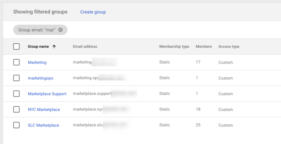 Example of Google Workspace Groups