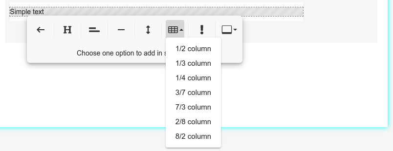 HTML table options of the Bybrand editor