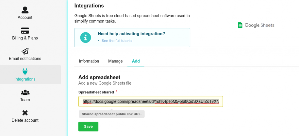 Adding Google Sheets file
