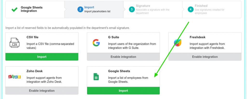 Import from Google Sheets integration