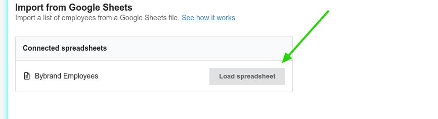 Load spreadsheet