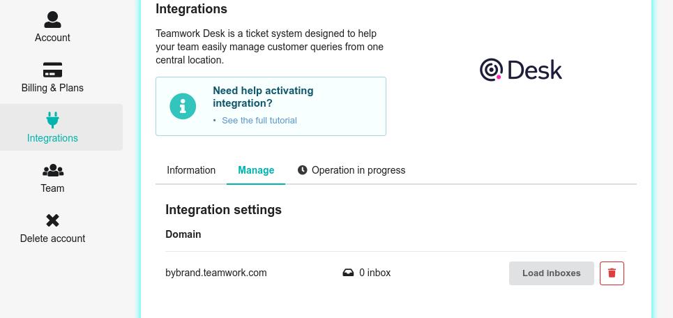 Teamwork Desk integration enable